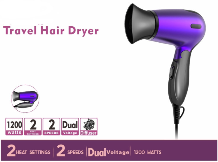 High Temperature Resistance Material 1200W Travelling Foldable Hair Dryer