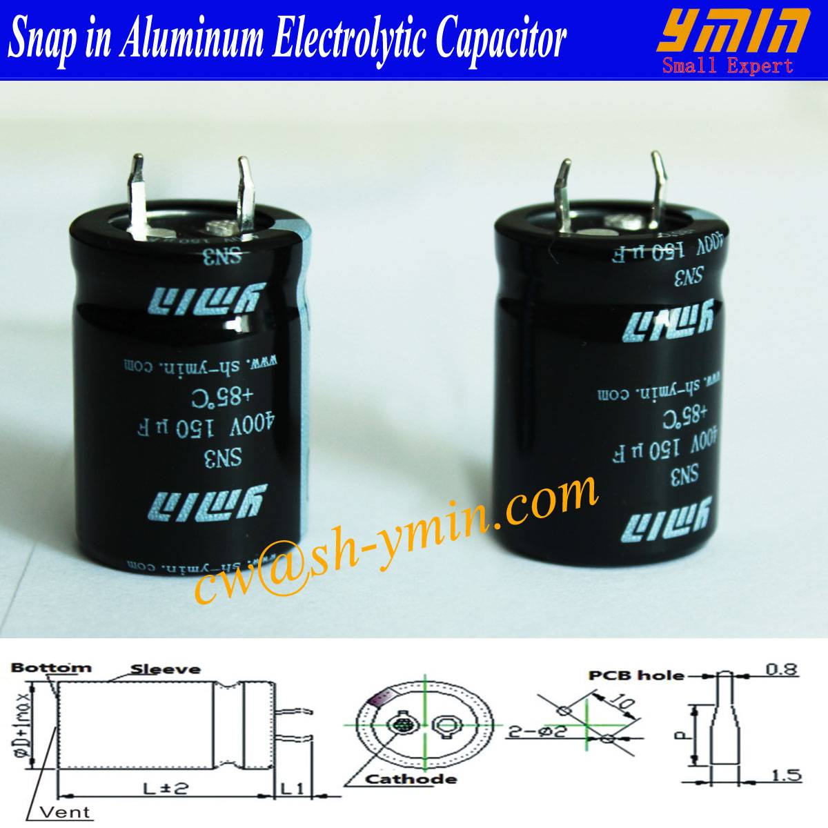 DC Capacitor Snap in Electrolytic Capacitor for DC Power Inverter