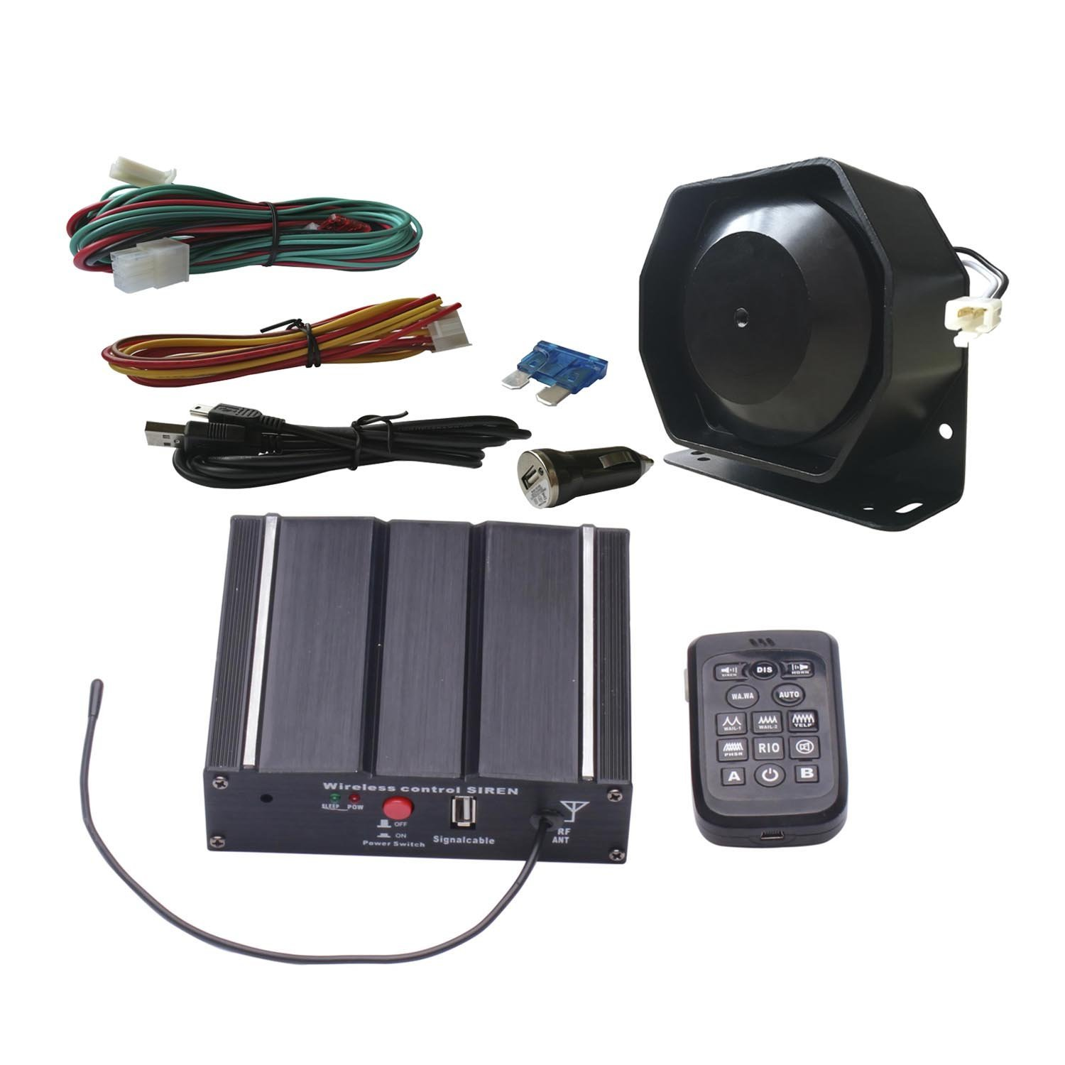 100W Police Car Siren Kit with Wireless Remote Speaker Microphone 20 Tones 12V DC
