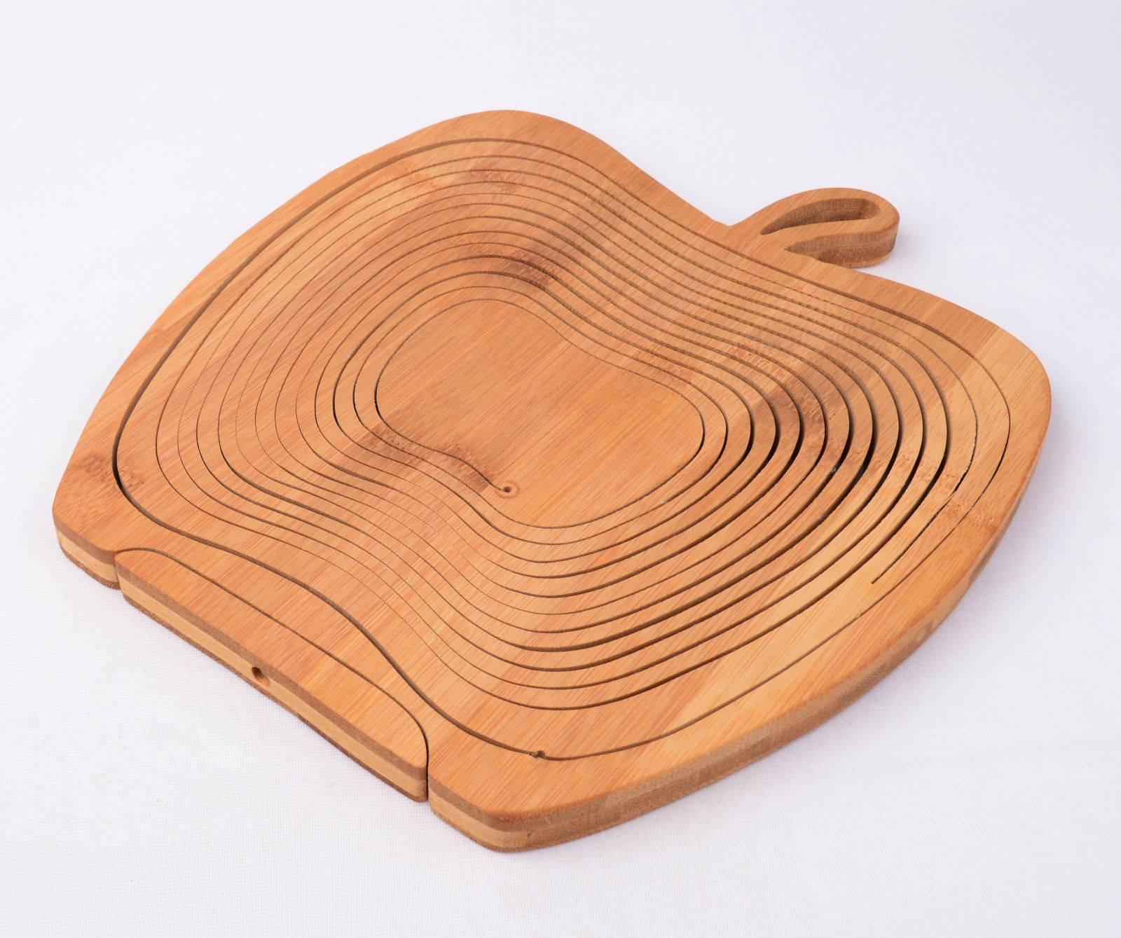 Apple Shaped Bamboo Wooden Folding Fruit Egg Basket