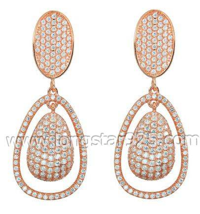 Brazil Fashion Jewelry Silver&Brass Zirconia Earrings