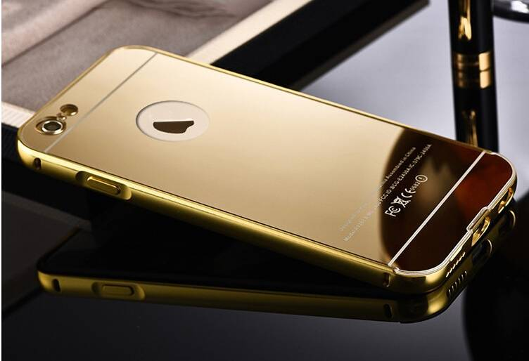 Gold aluminum Bumper phone case for iphone 6,iphone 6 metal bumper mirror case