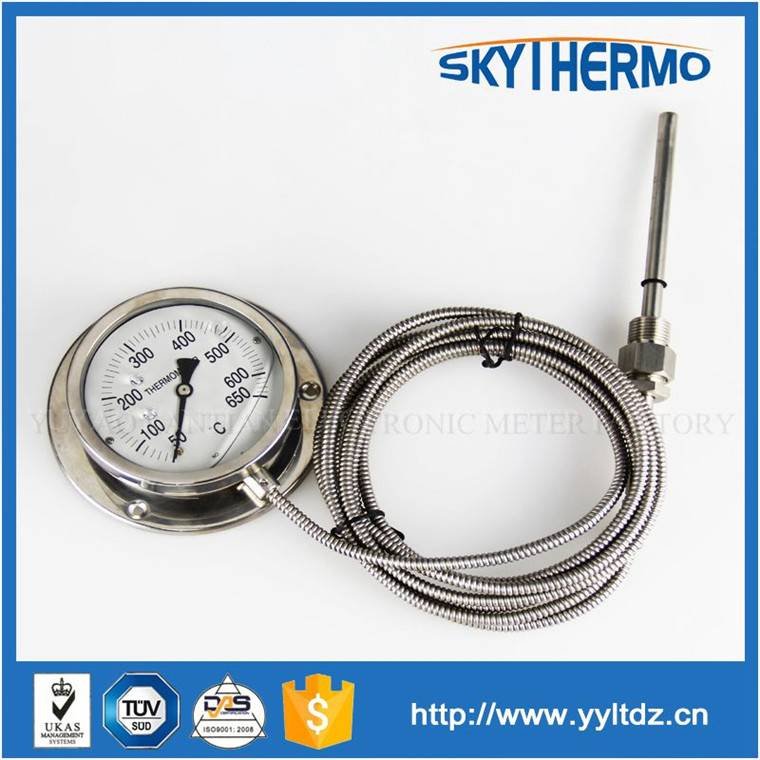 stainless steel wall mounting type remote reading dial capillary thermometer