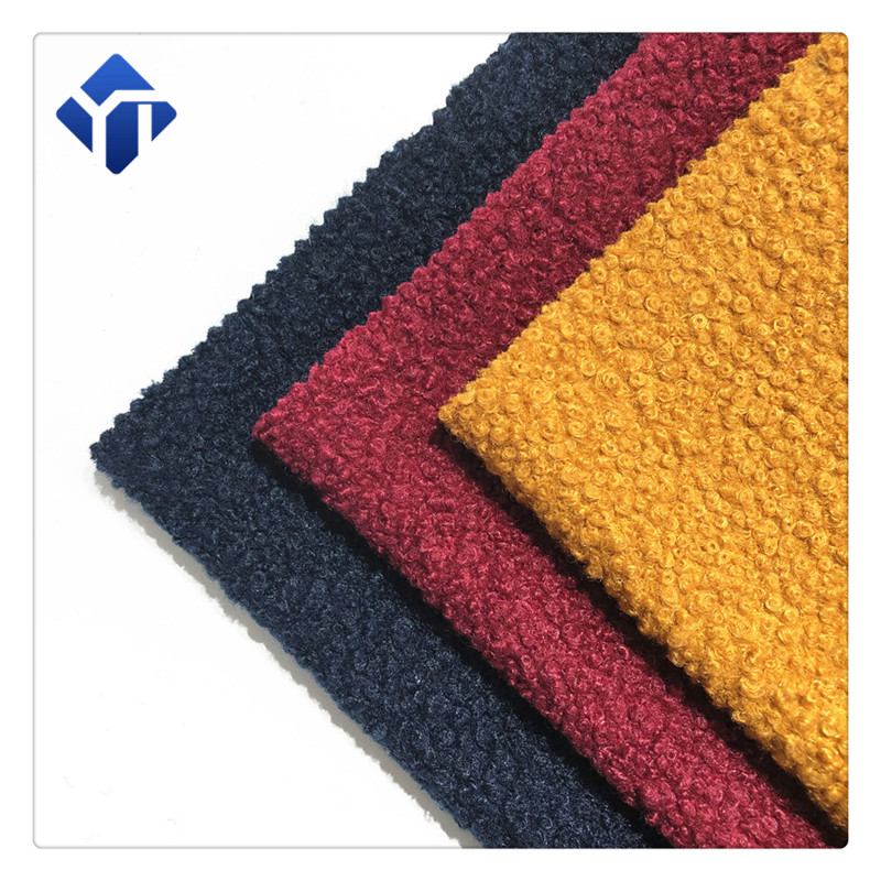Customized various color polyester boucle women clothing fabric