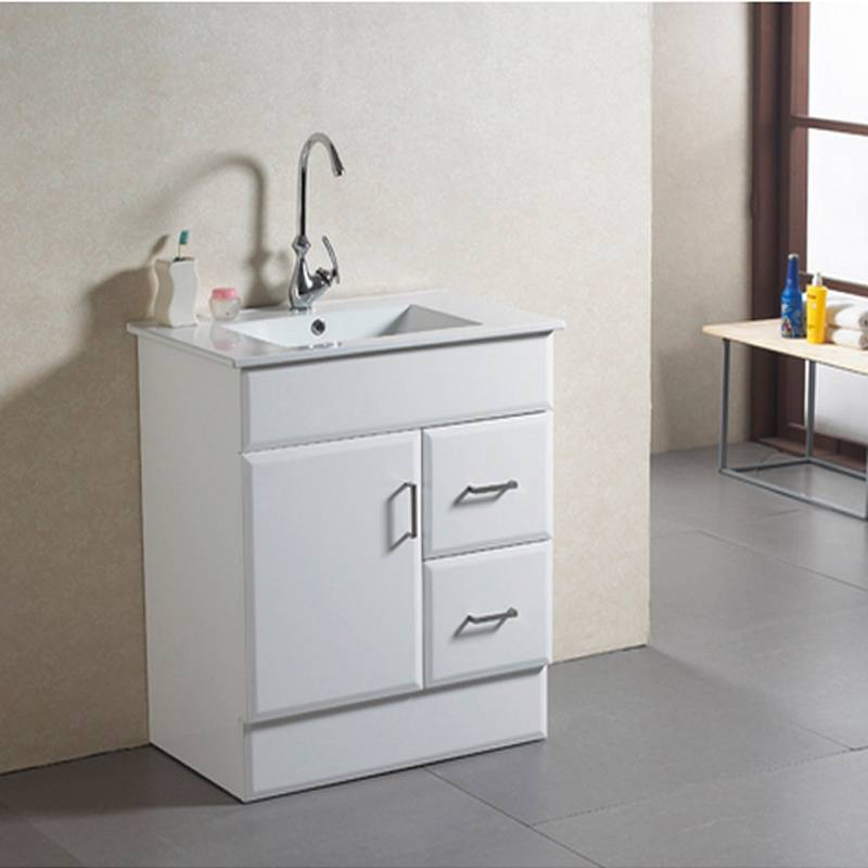 Modern high-glossy white MDF bathroom cabinet