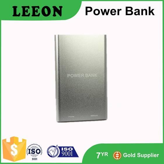 Universal wallet size aluminum power bank 5000mah portable external battery
