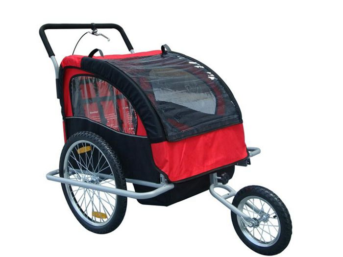 Red 2in1 Double Child Baby Bike Trailer and Stroller