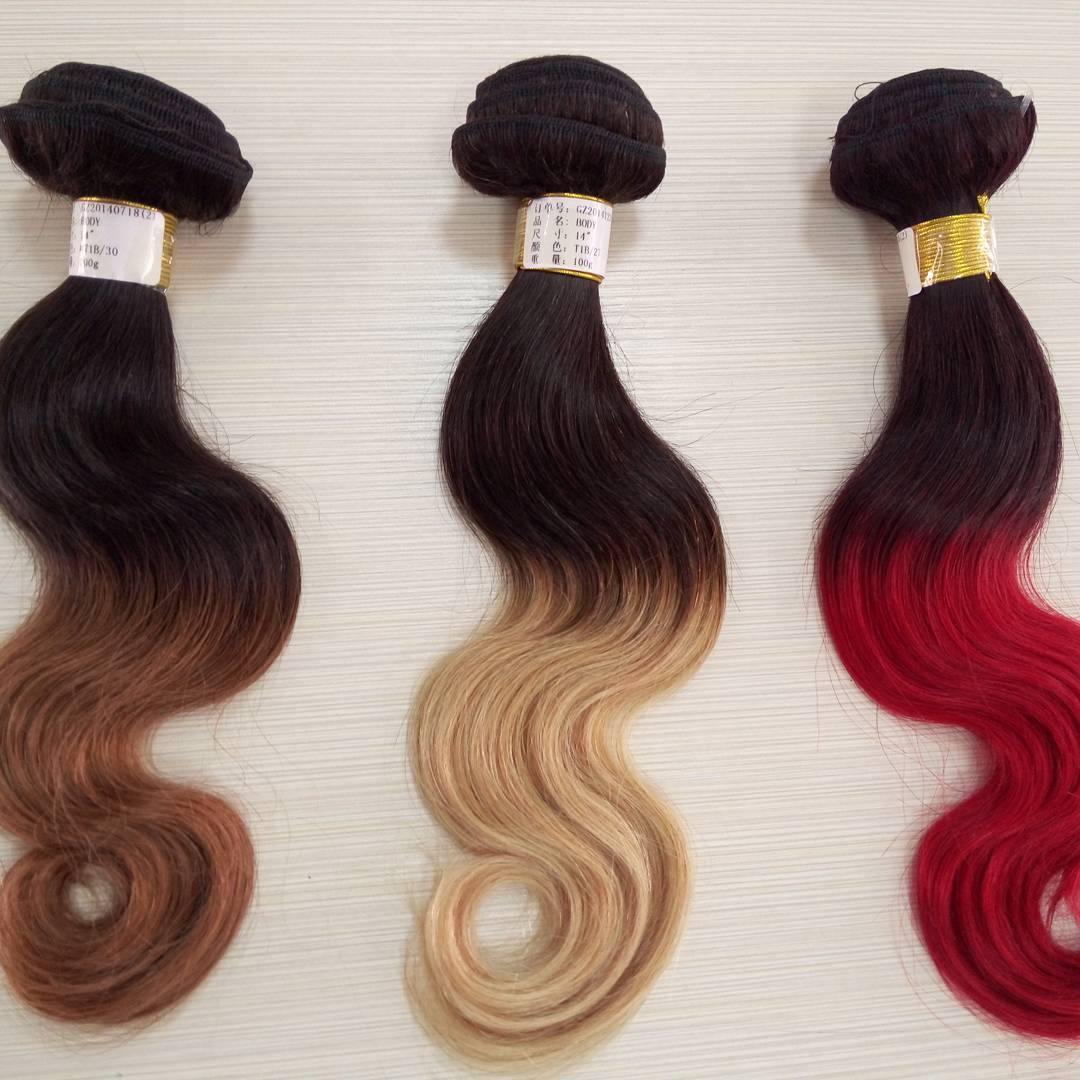 Human virgin hair brazilian ombre hair 100% unprocessed peruvian hair raw dyed hair weave