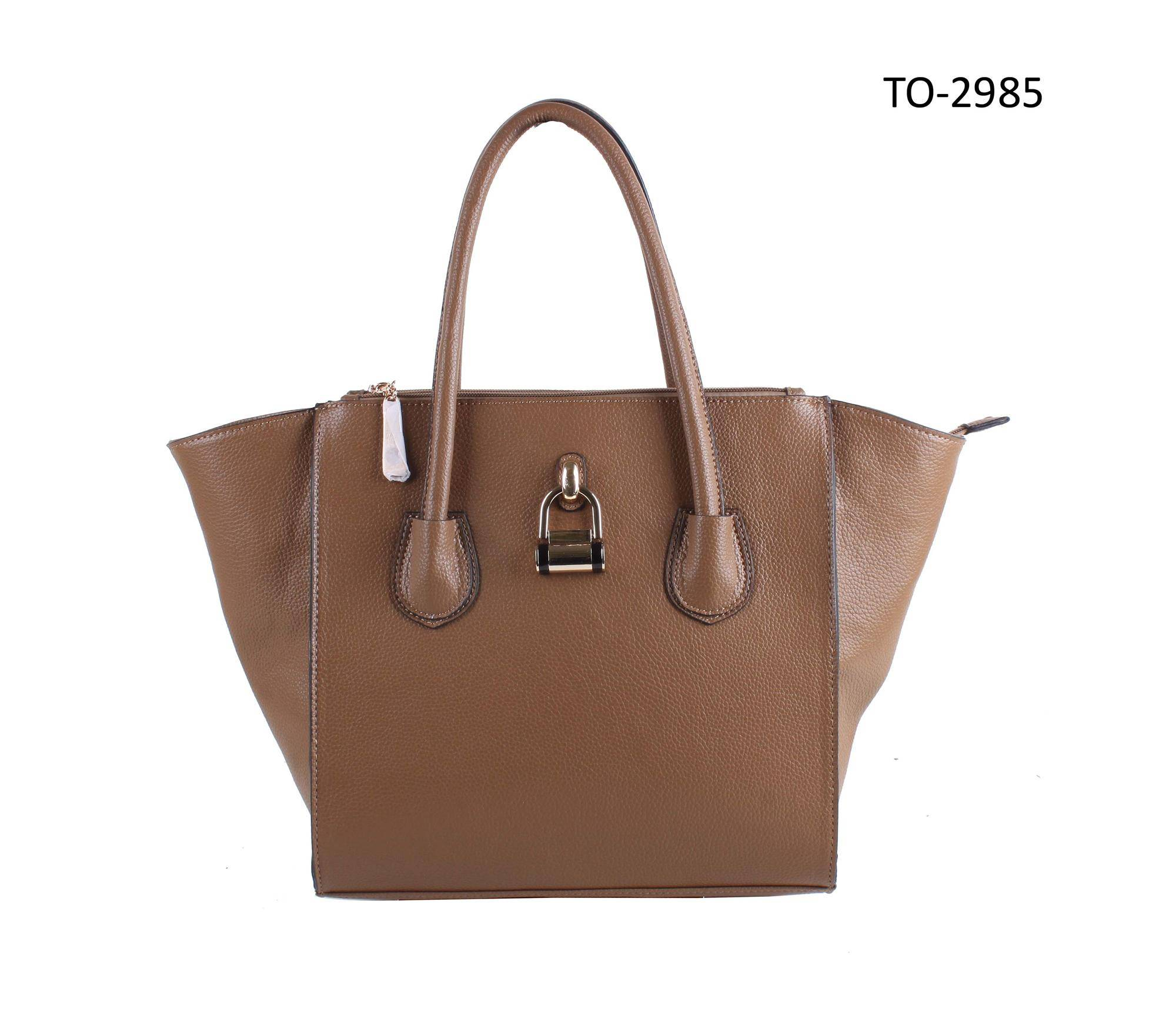 Hot Sell Elegant Fashion Lady Faux Leather Double Top Handle Handbag