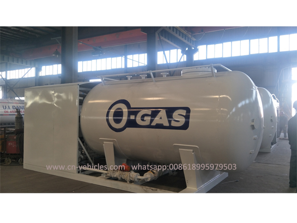 10.5 cubic Meter Cooking LPG Gas Plant Tank Skid Station For Sale