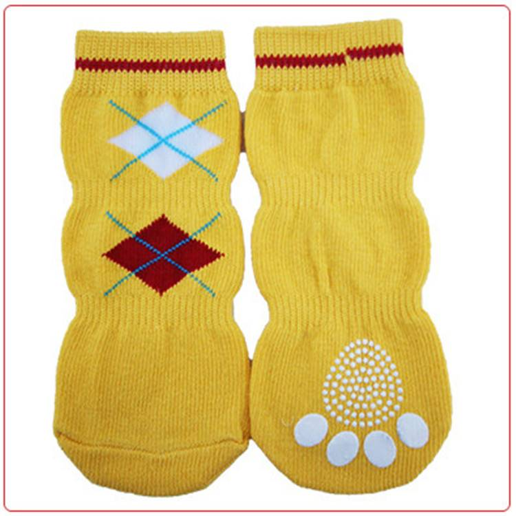 yellow pet socks, knitting non-slip sock for dogs,cats,block pattern socks longer socks in three