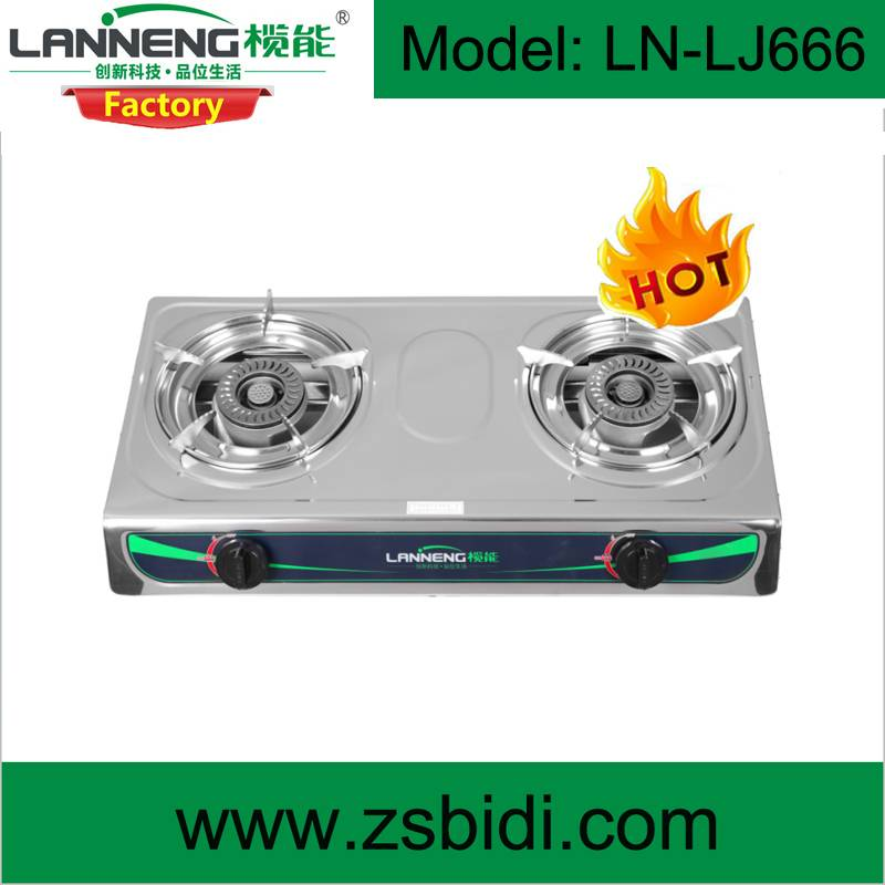 Durable stainless steel double burner biogas cooker