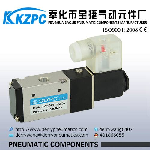 3V110-06 Normally Closed Type 3 Way Single Acting Pneumatic Solenoid Control Valve