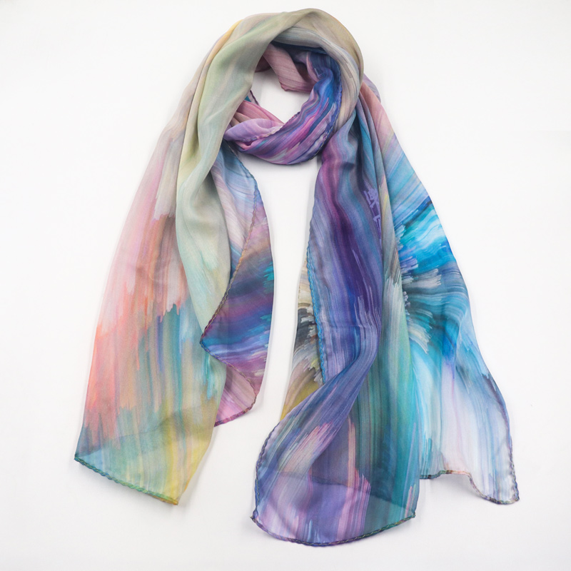 Hot Sale Long Style Custom Printed Chiffon Shawl Scarf Colorful Chiffon Scarf