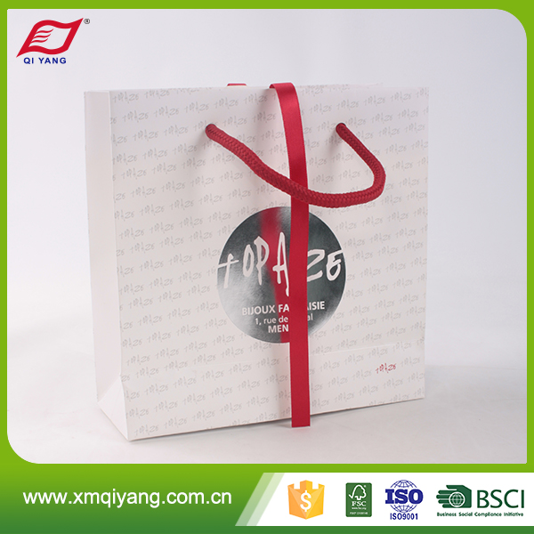 Cusom promotional printed small jewelry paper gift bag with satin ribbon handles