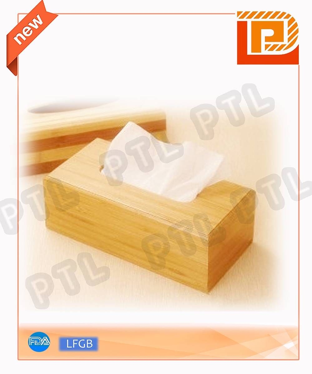 Retangular wooden tissue holder