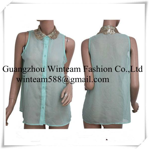 2014 lady mint chiffon gold sequin collar button down summer tank top