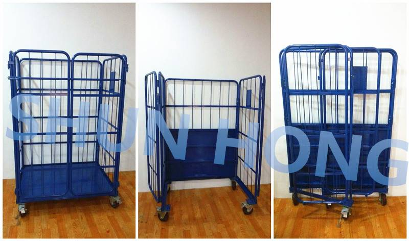 European supermarket foldable nesting mesh roll cage container trolleys
