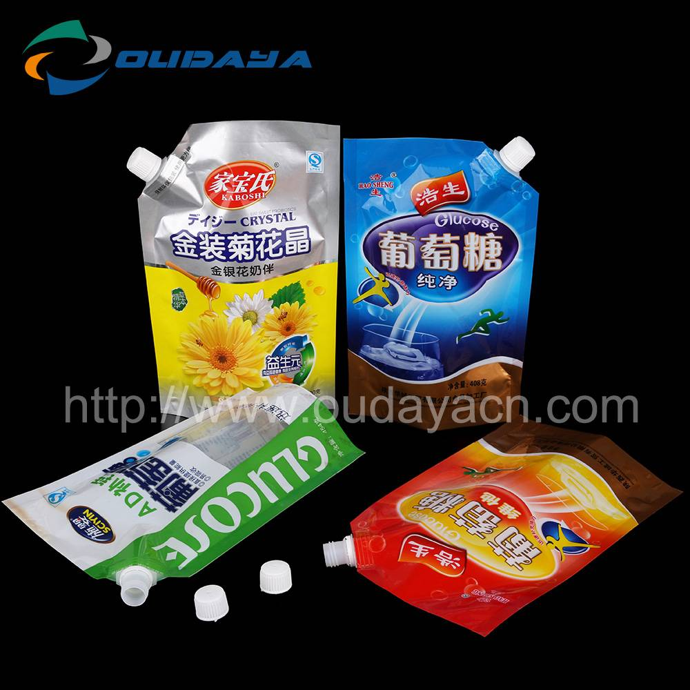 Factory wholesale drinking liquid pouch with spout packaging