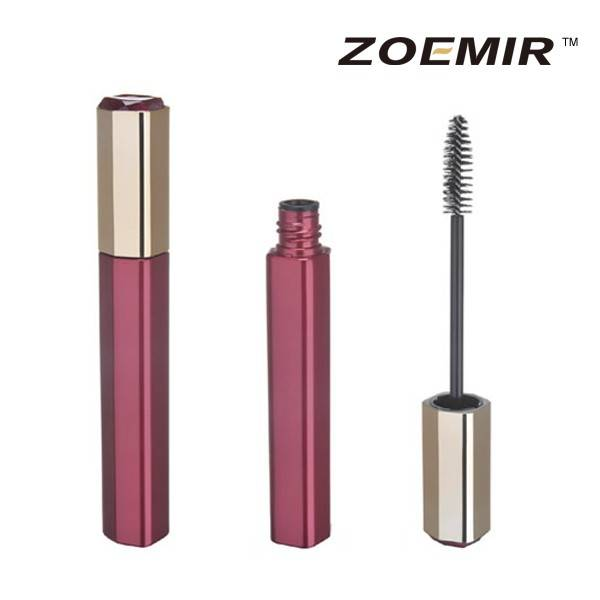 Delicate design round empty aluminum mascara tube cosmetic packaging