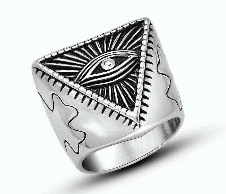 Stainless Steel Evil Eye Side Cross Ring