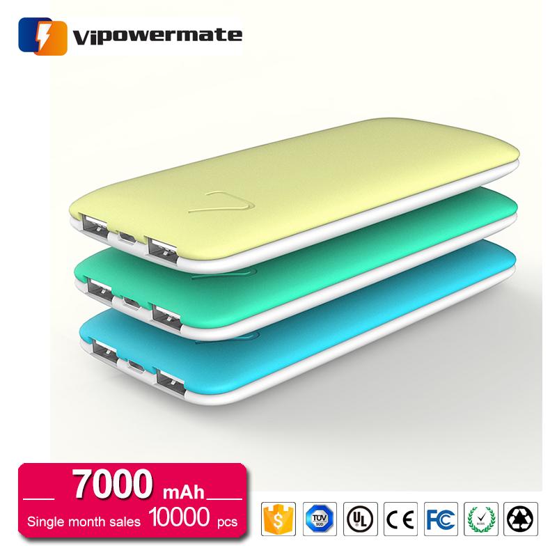 Hottest dual usb macaron super 7000mAh Li-polymer slim powerbank