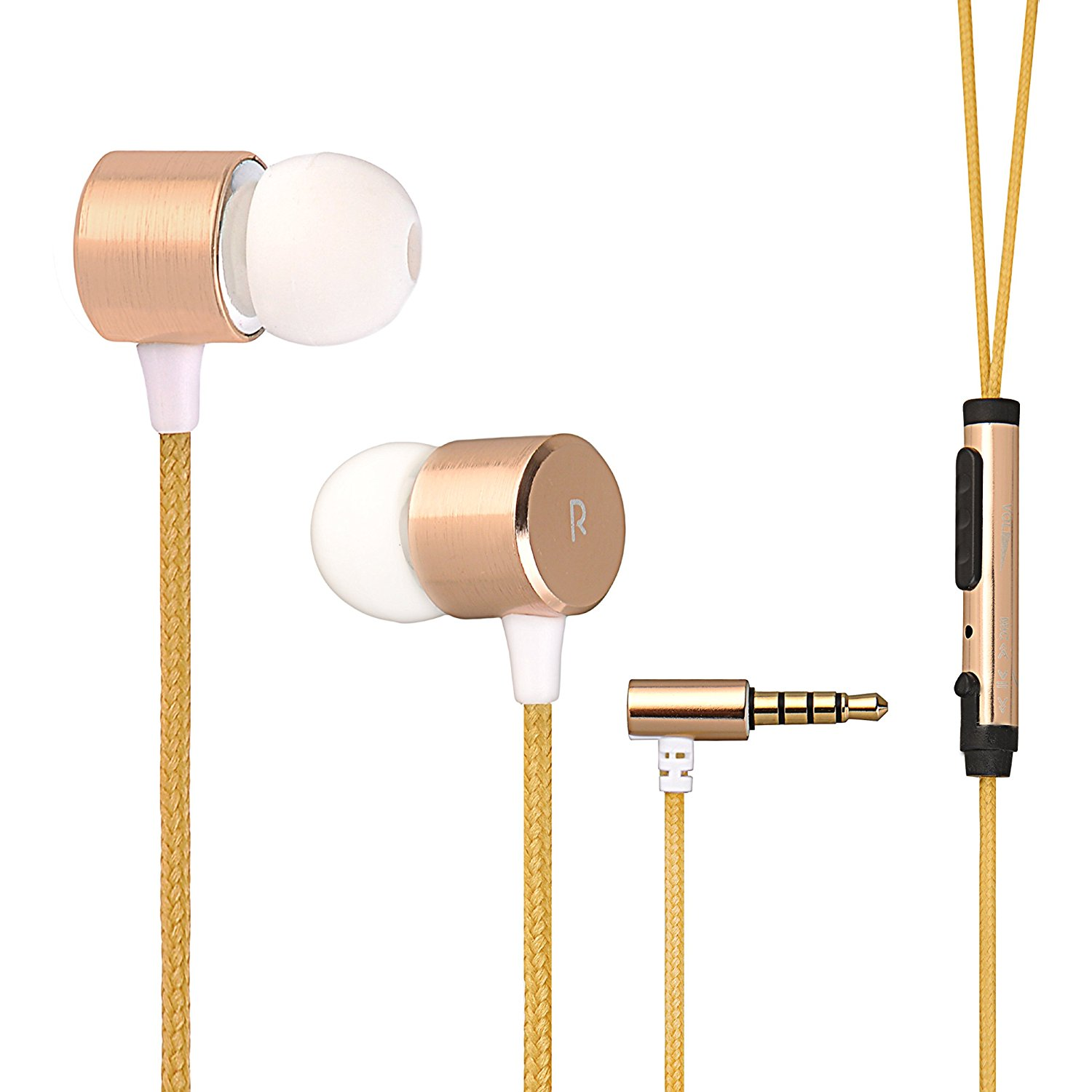 Wired metal earphone with fabric cable