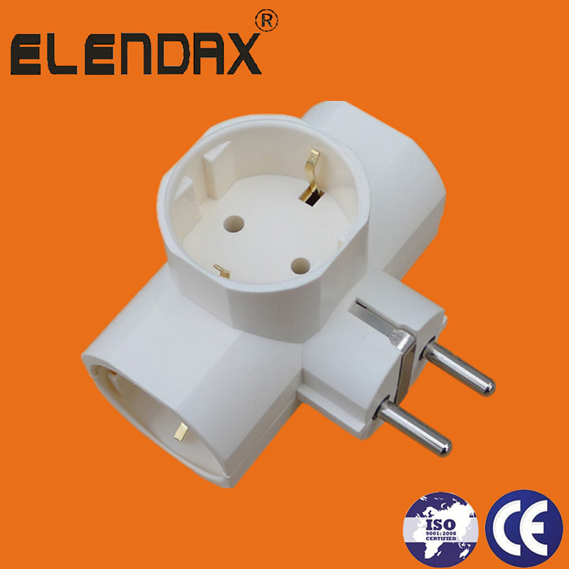 EU 2 pin plug to 3 shuko socket with ground(P7033)
