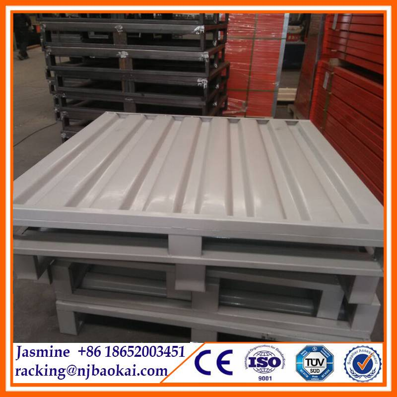 Stackable Powder Coated Warehouse Pallets Steel Metal Pallet