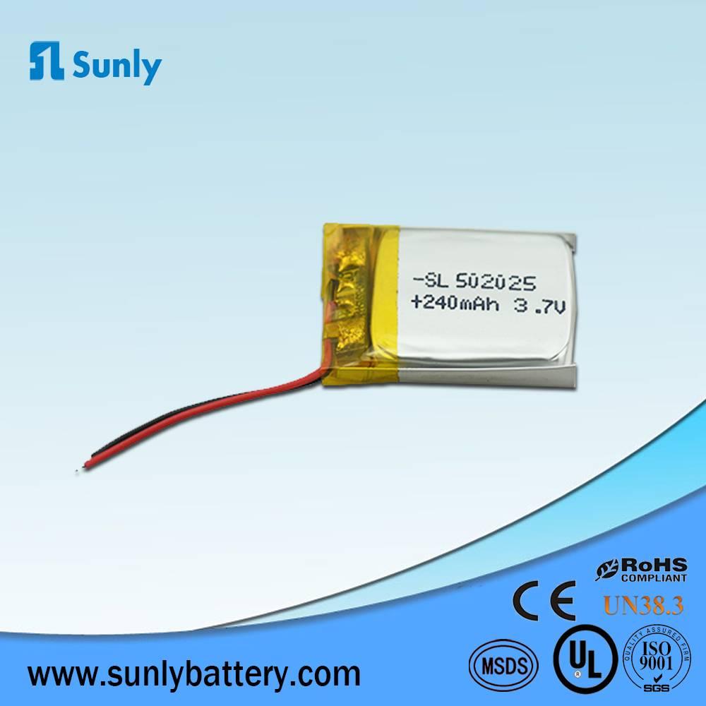 LP502025 li ion 3.7V 240mAh li-polymer battery for Bluetooth