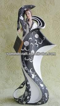 Fashion model black and white design dress 2014 beauty sexy girl figurine
