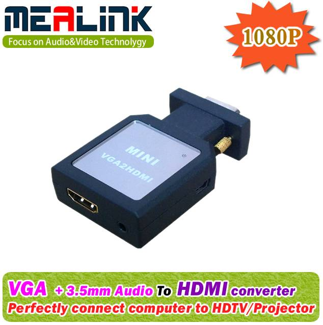 VGA to HDMI Converter (Easy Adapter, Plug and Work)