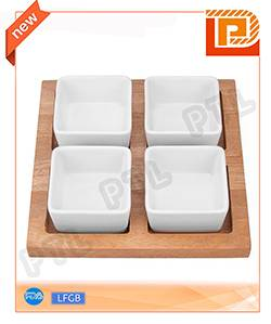 food holder with 4-piece square ceramic bowls plus wooden stand