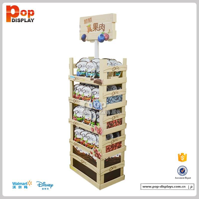 Retail supermarket cardboard floor display stand candy display