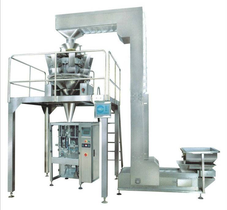 Automatic multiheads weigher packaging line