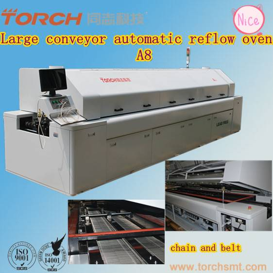 8Heating Zone Leadfree Reflow Oven / Solder Paste Reflow Oven A8