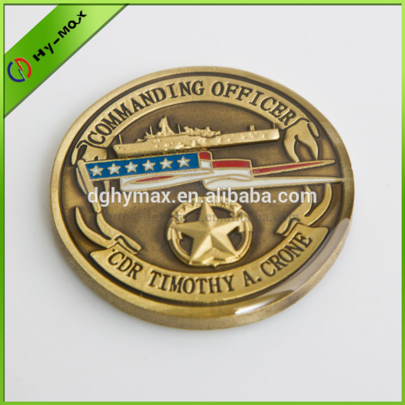 high quality antique gold souvenir coin with epoxy