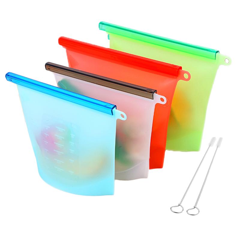 Food Preservation Ziplock Silicone Reusable Food Storage Bag Silicone
