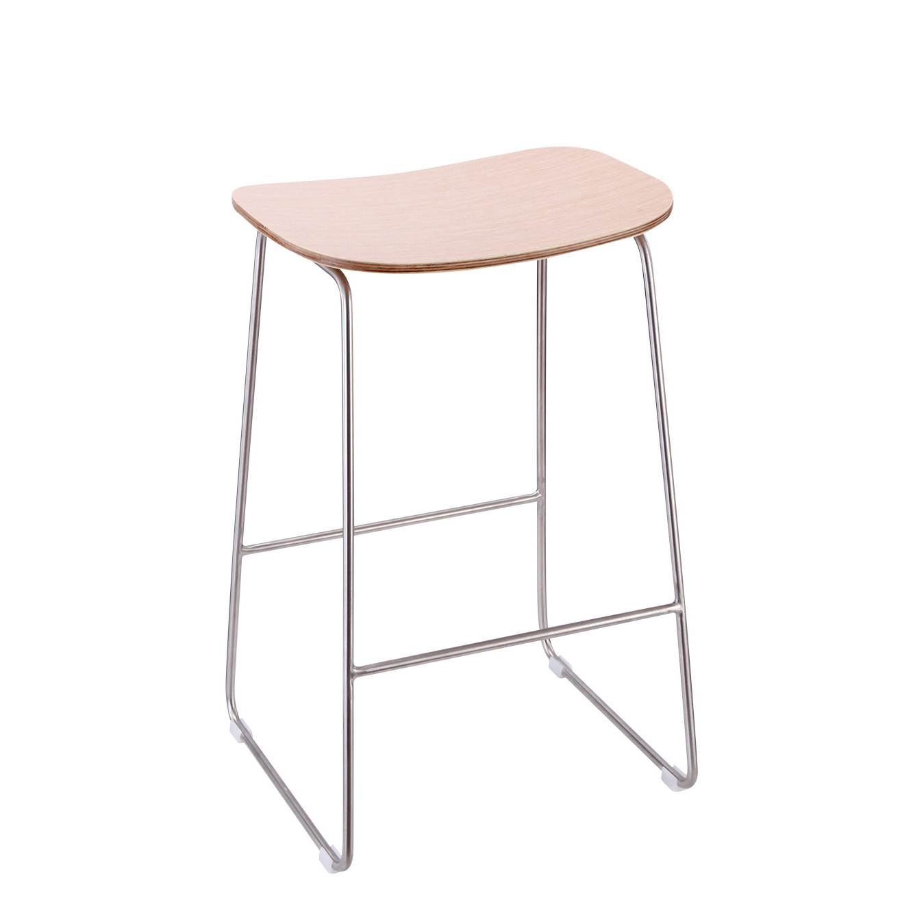 Manufacturer retail rounded stainless steel stool with wooden for mobile phone store experience disp