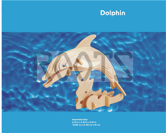 Dolphin-3D wooden puzzles, wooden construction kit,3d wooden models, 3d puzzle