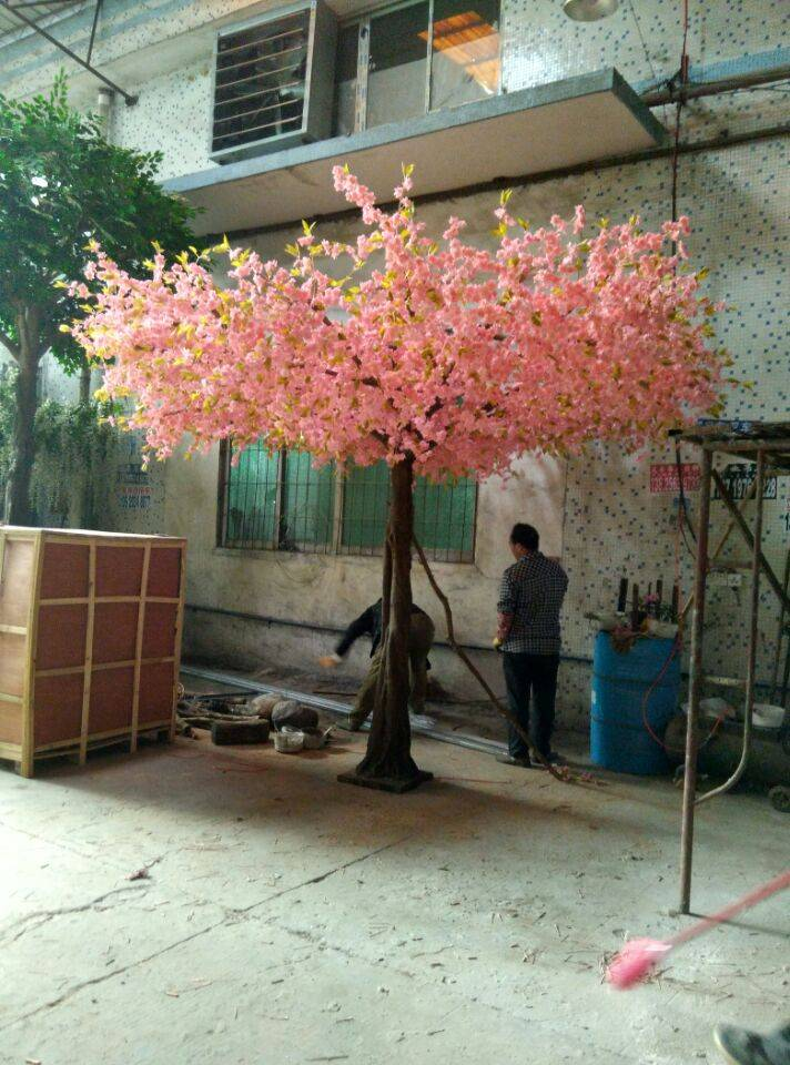 Pink color artificial tree plastic cherry blossom tree