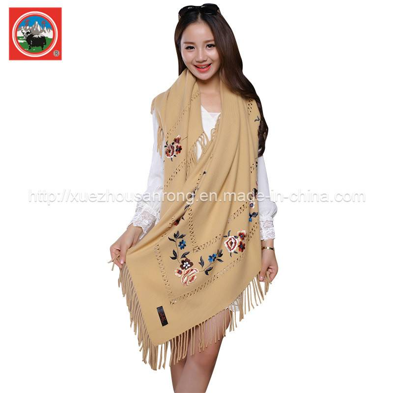 yak wool /cashmere knitted embroidered Ladies' shawl
