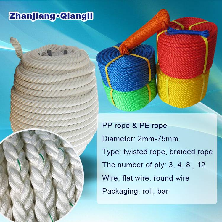 Plastic Fishing Twisted Braided PP Rope PE Rope