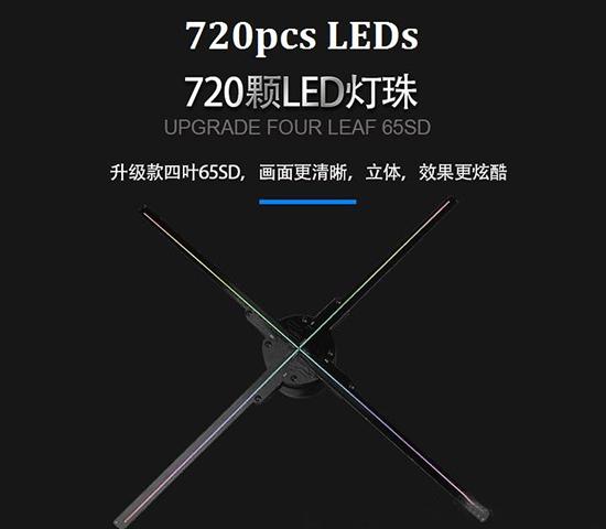 Custom OEM 2019 Quality HD720 Wifi 65CM LED 3D Hologram Advertising Fan 4 Blades Display
