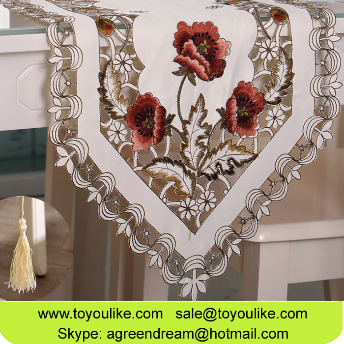 Toyoulike Handmade Cutwork Floral Embroidered Beige Decorative Table Runner for Home