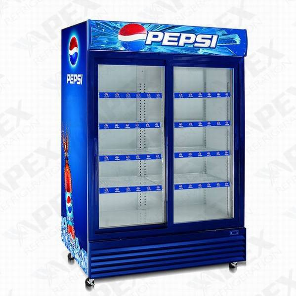 With lock and handle double door Auto-defrost supermarket Glass door refrigeration