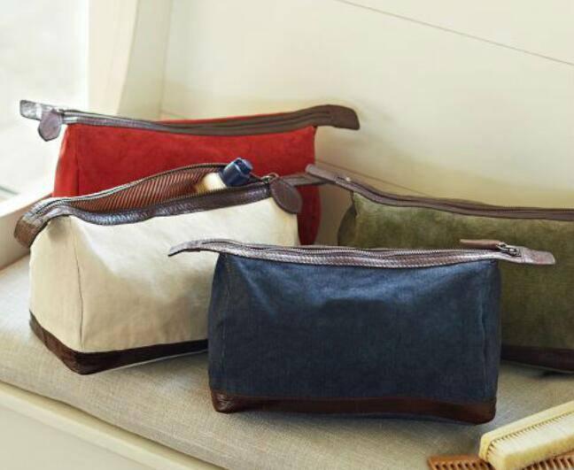 Cotton with leather trim men dopp kits/mens toiletry kits/mens shaving kit bag/makeup bag