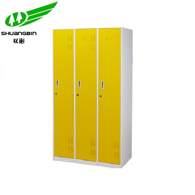 Knock down yellow color 3 door metal wardrobe locker