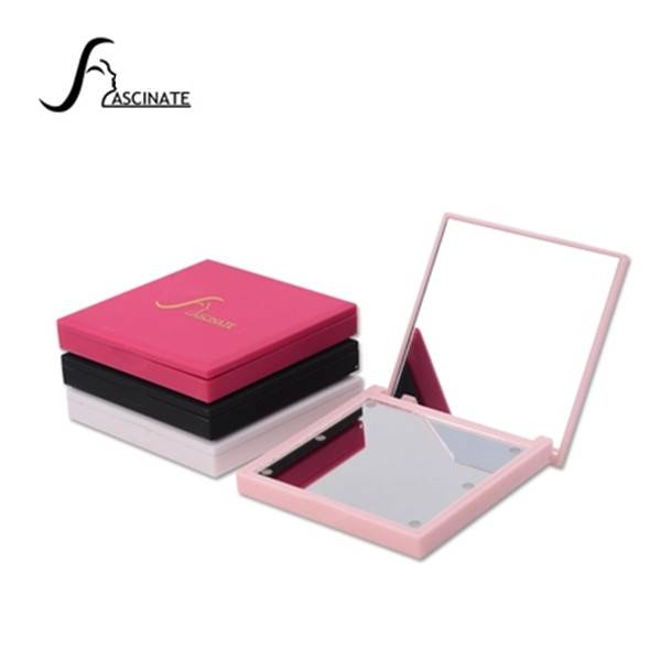 Lighted Makeup Mirror with 6 LED Lights, Two Sides, Compact Style, Portable, Square Shape