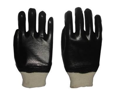 26cm black smooth finished PVC gloves